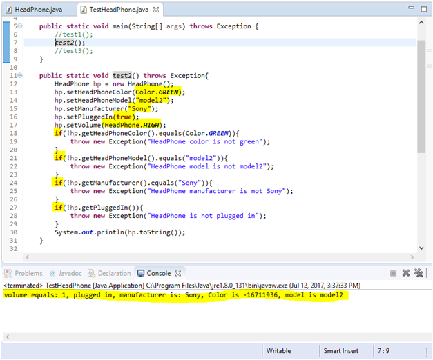 Class to model headphones and Junit test